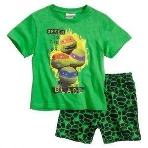 Turtles T-paita + shortsit Vihreä