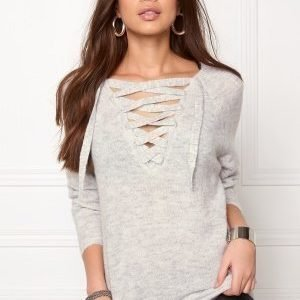 VILA Cant String Knit Top Light Grey Melange