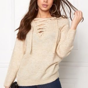VILA Cant String Knit Top Sandshell