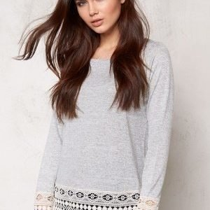 VILA Central L/S Crochet Top Light Grey Melange
