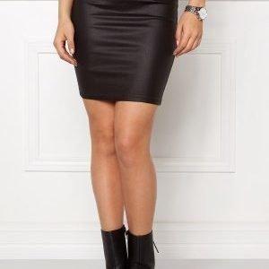 VILA Comma Coated Skirt Black