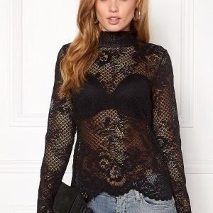 VILA Loras l/s Lace Top Black