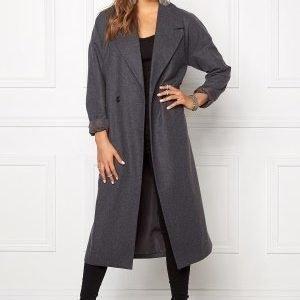 VILA Saka Long Coat Medium Grey Melange