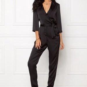 VILA Sateen 3/4 Jumpsuit Black