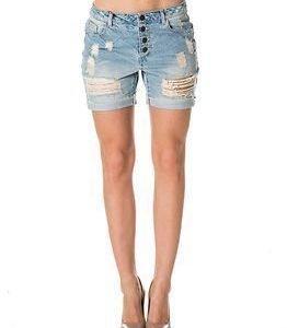 Vero Moda Be Adele Loose Long Destroy Shorts Light Blue
