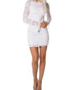 Vero Moda Celeb Flare Mini Lace Dress Bright White