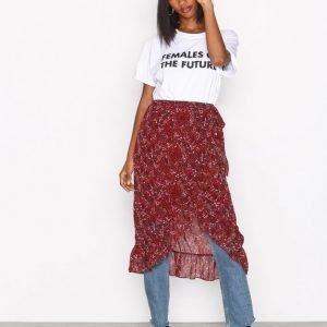 Vero Moda Vmcamille Hw Blk Skirt Fd17 Midihame Tummanpunainen