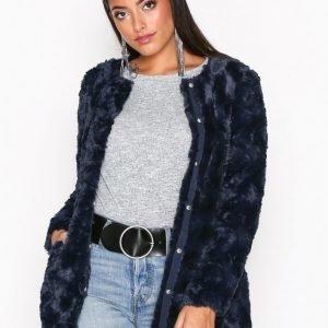 Vero Moda Vmcurl Long Fake Fur Jacket Tekoturkki Tummansininen