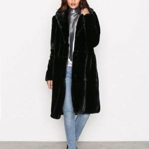 Vero Moda Vmlux Long Faux Fur Jacket Tekoturkki Musta