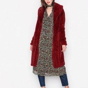 Vero Moda Vmlux Long Faux Fur Jacket Tekoturkki Tummanpunainen