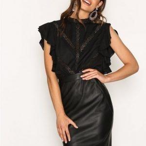Vero Moda Vmninea Hw Pu Abk Skirt Black Noos Midihame Musta
