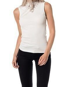 Vila Falls S/L Rib Lace Detail Top Snow White