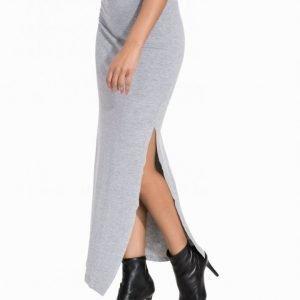 Vila Vihonesty New Maxi Slit Skirt Pitkä Hame Light Grey Melange