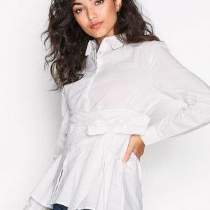 Vila Vinavaro L / S Wrap Shirt Arkipaita Valkoinen