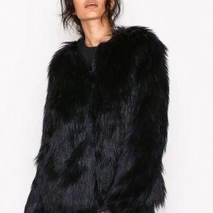Vila Vipoppy Faux Fur Jacket Tekoturkki Tummanvioletti