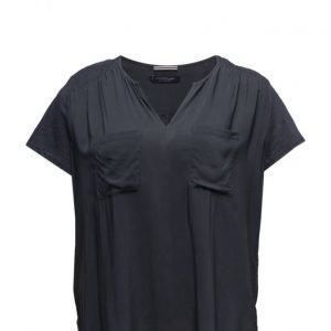 Violeta by Mango Chest-Pocket Flowy Blouse lyhythihainen pusero