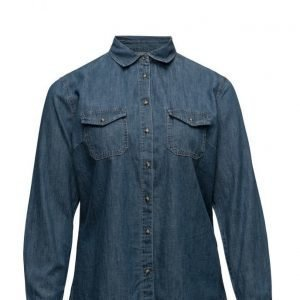Violeta by Mango Dark Denim Shirt pitkähihainen paita