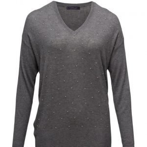 Violeta by Mango Embossed Embellishment Cotton Sweater neulepusero