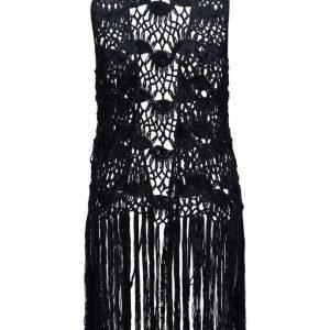 Violeta by Mango Fringed Crochet Vest liivi