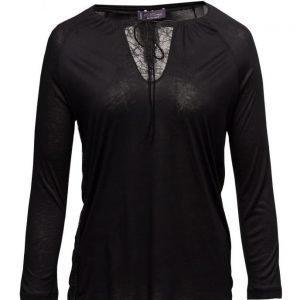 Violeta by Mango Lace Panel T-Shirt pitkähihainen pusero