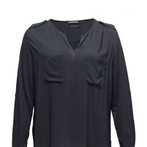 Violeta by Mango Mixed Fabric Blouse pitkähihainen pusero