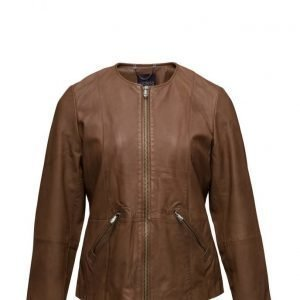 Violeta by Mango Pocket Leather Jacket nahkatakki