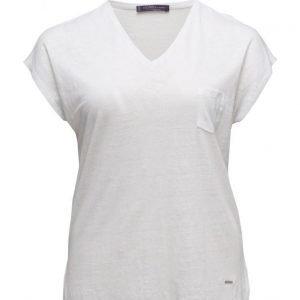 Violeta by Mango Pocket Linen-Blend T-Shirt lyhythihainen pusero
