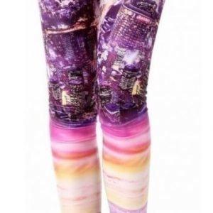 Violetit printtikuvioiset leggingsit