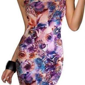 Violetti kukkakuvioinen printtiminimekko