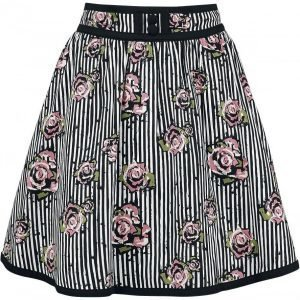 Voodoo Vixen Josephine Floral And Pinstripe Skirt Hame