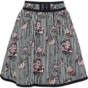 Voodoo Vixen Josephine Floral And Pinstripe Skirt Hame