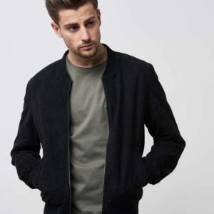 William Baxter Ross Suede Bomber Black