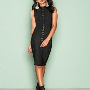 Wow Couture Detailed Front Bodycon Dress Kotelomekko Black