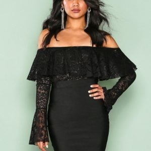Wow Couture Flute Sleeve Off Shoulder Dress Kotelomekko Black