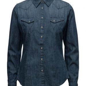 Wrangler Slim Western Shirt Bleach pitkähihainen paita