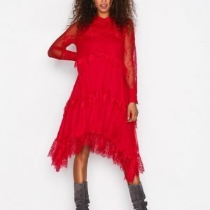 Y.A.S Yascille Ls Lace Dress Maksimekko Tummanpunainen