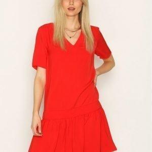 Y.A.S Yaslainy Dress Loose Fit Mekko Tummanpunainen