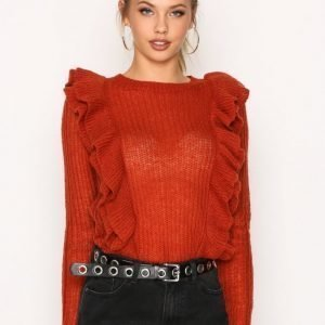 Y.A.S Yaslucia Ls Knit Pullover Neulepusero Tummanpunainen