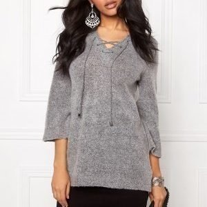 b.young Oyester v-neck Sweater Med.grey Melange